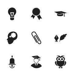 set of 9 editable graduation icons includes vector image