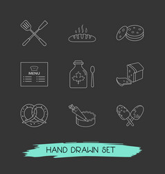 Set of food icons line style symbols with syrup vector
