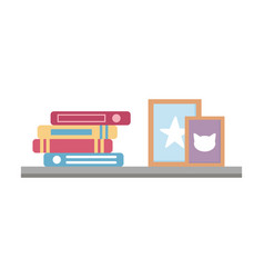 Shelf with books and frame decoration isolated vector