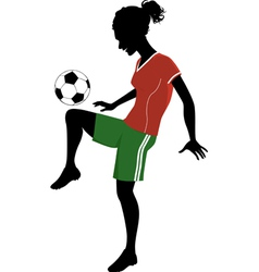 silhouette a teenage girl playing football vector image