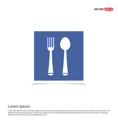 spoon and fork icon - blue photo frame vector image