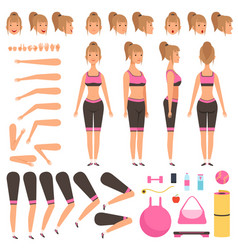 Sport girl animation fitness female characters vector