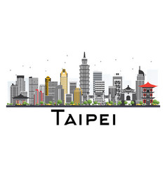 Taipei taiwan skyline with gray buildings vector