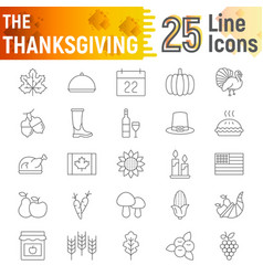 thanksgiving thin line icon set holiday symbols vector image