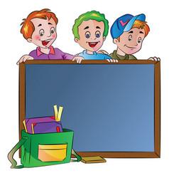 Three boys standing behind a chalk board vector