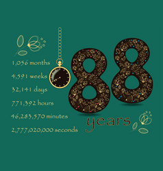 time counting card number 88 and pocket watch vector image
