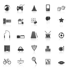 Toy icons with reflect on white background vector