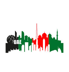 Uae cityscapes contours in natinal flag colors vector