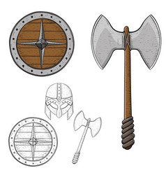 viking armour fighting equipment sketch vector image