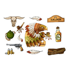 western wild west art stickers set gun skull vector image