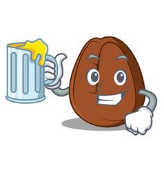 with juice coffee bean mascot cartoon vector image
