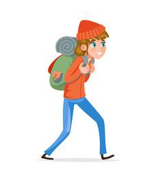 woman backpacker walking traveler hiking active vector image