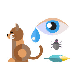 Allergy cat symbols disease healthcare viruses and vector