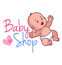 Baby shop logo Cute toddler in diaper vector image vector image