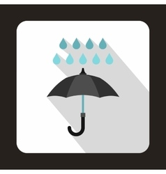 Black umbrella and rain drops icon flat style vector image