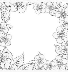 blooming sakura rectangle frame vector image