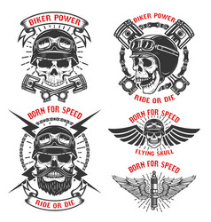 Born for speed set of the emblems with racer vector