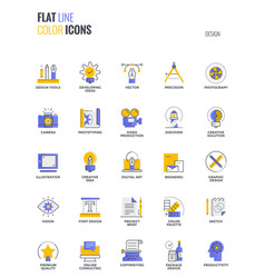 Flat line multicolor icons design-graphic design vector