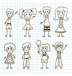 Hand drawn cute little kids Collection of happy vector image