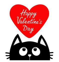 happy valentines day black cat looking up to big vector image vector image