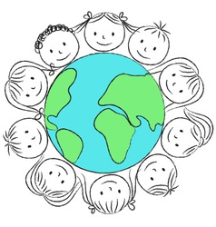 kids faces on planet chalky vector image
