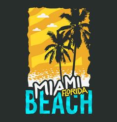 miami beach florida summer poster design with palm vector image vector image
