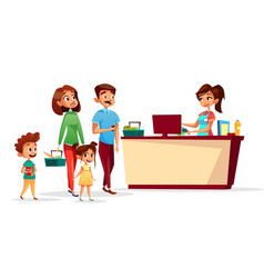 people at supermarket checkout counter vector image