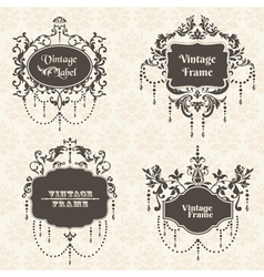 Set Vintage Frame collection with FLower elements vector image