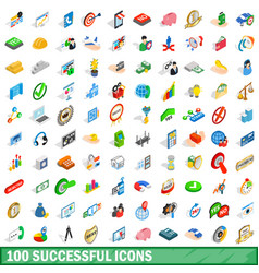 100 successful icons set isometric 3d style vector image vector image