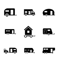 Black trailer icons set vector