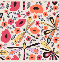 dragonflies seamless patterns vector image vector image