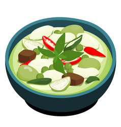 green chicken curry popular thai food vector image vector image