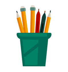 pencils with rubbers on top in glass cup vector image vector image