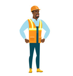 Young african-american furious builder screaming vector