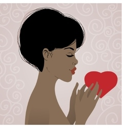 Beautiful african american woman with heart vector image vector image