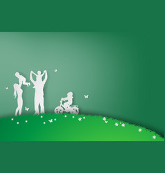 Green background happy family having fun playing vector