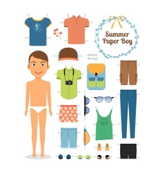 Paper doll boy in summer clothes and shoes vector image vector image