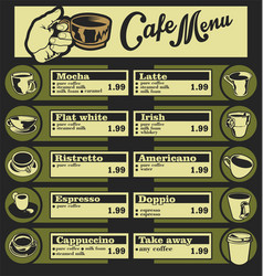 set of coffee menu with a cups of coffee drinks 3 vector image vector image
