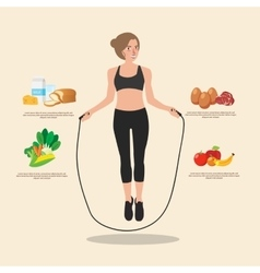 Cute sporty girl jumping with skipping rope vector image