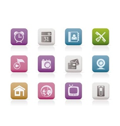 mobile phone and computer icons vector image vector image