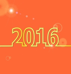 2016 Happy New Year on orange background vector image