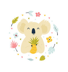 abstract design with cute koala and pineapple vector image
