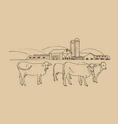 Agricultural farm agri business with cows vector