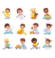 Babies playing with toys multiethnic kids hold vector