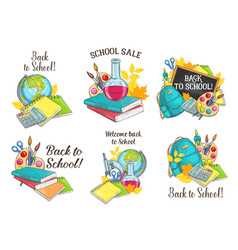 Back to school sketch stationery icons vector