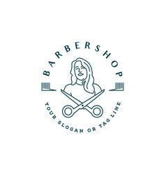 Barbershop logo woman template vector