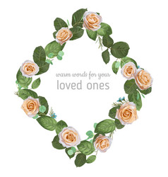 Beautiful floral of a rhombus frame wreath from vector
