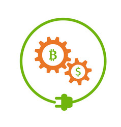 Bitcoin mining flat icon vector