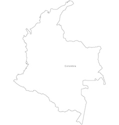 Black White Colombia Outline Map vector
