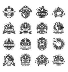 bowling emblem and black white design vector image vector image